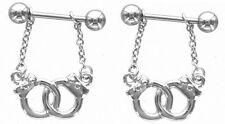 sold as a pair 14 gauge Nipple Shield Rings barbell barbells Handcuffs