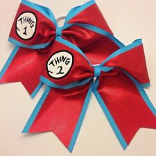 Thing 1 & 2 Cheer Hair Bow Set Red Mystique Vinyl Decal Free Personalization