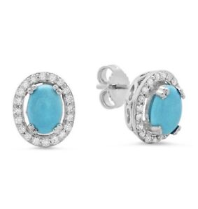 Certified 3.00cttw Turquoise 1.00cttw Diamond 14KT White Gold Earings
