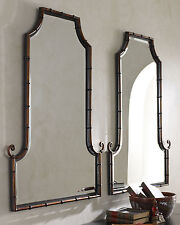 """PAIR Horchow Asian Chippendale Bamboo Black/Gold Arched Pagoda Mirror Vanity 42"""""""
