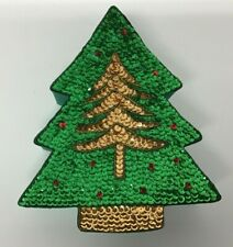 Christmas Tree Shaped Satin and Sequin Gift Box