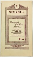 1956 Vintage Menu & Wine List GEORGE'S RESTAURANT & GRILL ROOM Manhattan NY