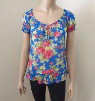 NEW Hollister Womens Floral Sheer Shirt Top Blouse Size XS Blue Flowers