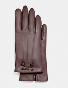 Coach Oxblood Women's Bow Leather Wool Lined Gloves F20887 Sz 8 -NWT $135