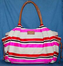 KATE SPADE WKRU1653 Stevie Bag Oak Island Stripe Cute! pink red ivory
