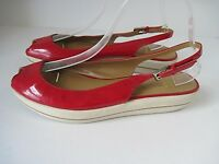 STUART WEITZMAN Red Patent Leather Peep Toe Slingback Low Platform Sandals 7.5M