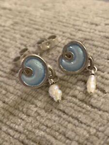 Scottish? Sterling Silver, Enamel & Baroque Pearl Earrings by Norman Grant. DJ?