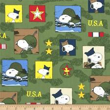 """Peanut snoopy Hugs for Heroes Patchwork Olive 100% cotton Fabric Remnant 31"""""""