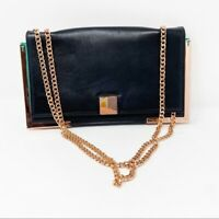 Ted Baker Black Leather Chain Crossbody Clutch Bag Evening Bag