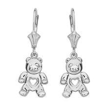 14K White Gold Open Heart Love Bear Drop/Dangle Leverback Earrings