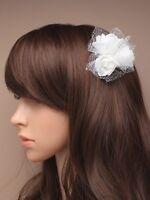 BRIDAL HAIR CLIP WEDDING BRIDESMAID IVORY FLOWER GLITTER 4780 FASCINATOR