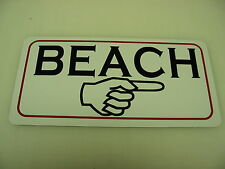 Vintage Style BEACH W/ ARROW Metal Tin Sign NEW 4 Sand Trap or Golf Club Bunker