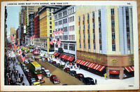 1940s Linen Postcard: 'Fifth Avenue, F. W. Woolworth & Co. - New York City, NY'
