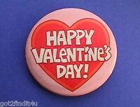 Hallmark BUTTON PIN Valentines Vintage HAPPY Heart Hoilday Pinback