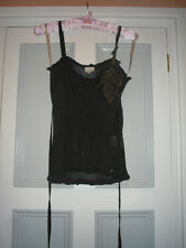 KAREN MILLEN STRAPPY TOP, DELICATE CORSAGE AND LACE TRIM DETAIL, SIZE 1 (10/12)