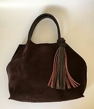 Colab Brown Suede Leather tote bag with Leather Tassel
