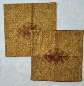 2 Pottery Barn Wool Paisley Jacquard Pillow Covers Red Brown Cotton Velvet Back
