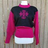 Vintage Womans Nils Sweater Sz L Wool Cassidy Pink Black New Oldstock Ski Wear