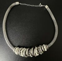 Statement Mesh Tube Collar Ring Charm Necklace Sparkly Silver Tone Boho Chunky