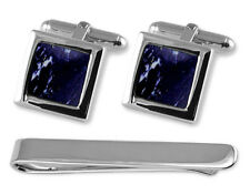 Sterling Silver Lapis Cufflinks Tie Clip Box Set