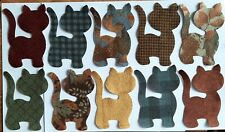 Flannel Kitty Cats fabric Pack remnants patchwork bundle 100%cotton - 10 pieces