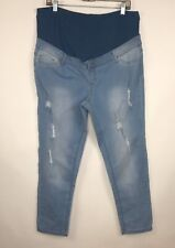 Planet Motherhood Maternity Distressed Skinny Jeans Size XL Stretch Full Panel
