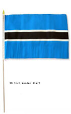 "12x18 12""x18"" Botswana Country Stick Flag 30"" wood staff"