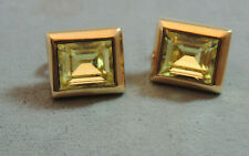 Signed S.A.L. Swarovski Champagne Crystal Emerald Clip on Stud Earrings Ce 3