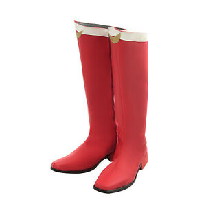 Tsukino Usagi Cosplay Shoes Red Boots Flats Faux Leather