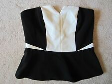 WOMENS H&M BLACK WHITE STRAPLESS PEPLUM TOP TANK KNIT TOP SIZE 8 US/38 EUR NWT