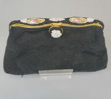 Vintage French Style Black Micro Beaded Purse Evening Bag Porcelain Ornaments