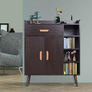 HOMCOM Side Cabinet Hallway Storage Unit Home Console Table Organiser Walnut