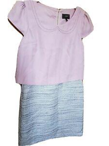 NEXT 2 IN 1 PINK CREAM LADIES SHORT SLEEVE ELEGANT DRESS TUNIC 8 10 S