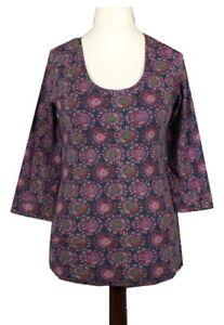 Seasalt Floral Top UK10 Short Sleeve Purple Boho Festival Stretch Organic Cotton
