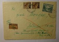 1945 GERMAN OCC. BOHEMIA-MORAVIA W/- PRAGUE POSTMARK & PINK EXPRESS LABEL COVER