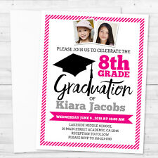 8 Graduation Class of 2018 8th Grade Promotion with Photos Girl Invitations