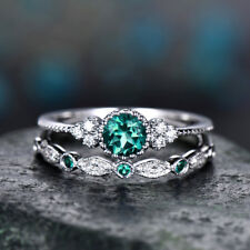 2pcs/set Women's Wedding Set Rings 925 Silver Round Cut Emerald Ring Size 10