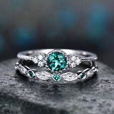 2pcs/set Women's Wedding Set Rings 925 Silver Round Cut Emerald Ring Size10