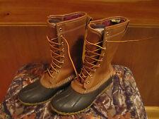 """Womens LL BEAN Boots 11"""" GORE TEX THINSULATE Snow Rain Mud Duck 10"""" Tan/Brown 6M"""