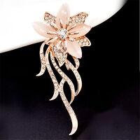 Women Fashion Rhinestone Opal Stone Gold Flower Brooch Pin Bridal Wedding Gift
