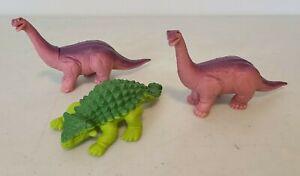 LOT 3 VTG 1988 Playskool Definitely Dinosaurs Figures Apatosaurus Ankylosaurus