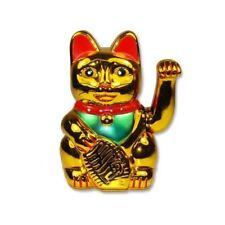 Battery Operated Maneki Neko Lucky Fortune Gold Cat Arm Living Display Room Cash