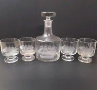 Vintage Schooner Ship Etched Glass Decanter And 4 Glasses