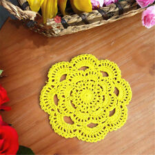 Handmade Round Crochet Cotton Table Cup Mats Placemats Doilies Coasters 16cm Yellow