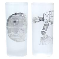 STAR WARS GLASSES (SET OF 2) - DEATH STAR & AT-AT WALKER - NEW!