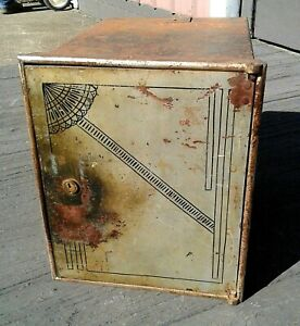 Antique Victorian Iron Wall Safe Strong Box with 2 Small Drawers Inside