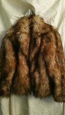 H&M Women's FOX Coyote Fur COAT JACKET SZ M Multi Reds Browns Sold OUT