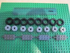 LEGO auto/camion 8 X Grigio Ruote con Pneumatici in Gomma Nero + 4 x asse Grigio mattoni