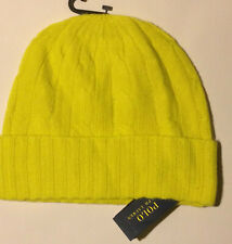 Ralph Lauren Cable-Knit Cashmere Hat Yellow NWT $88