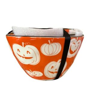 Johanna Parker Orange Pumpkin Print Bowl Set of 3 Goblin & Ghoul